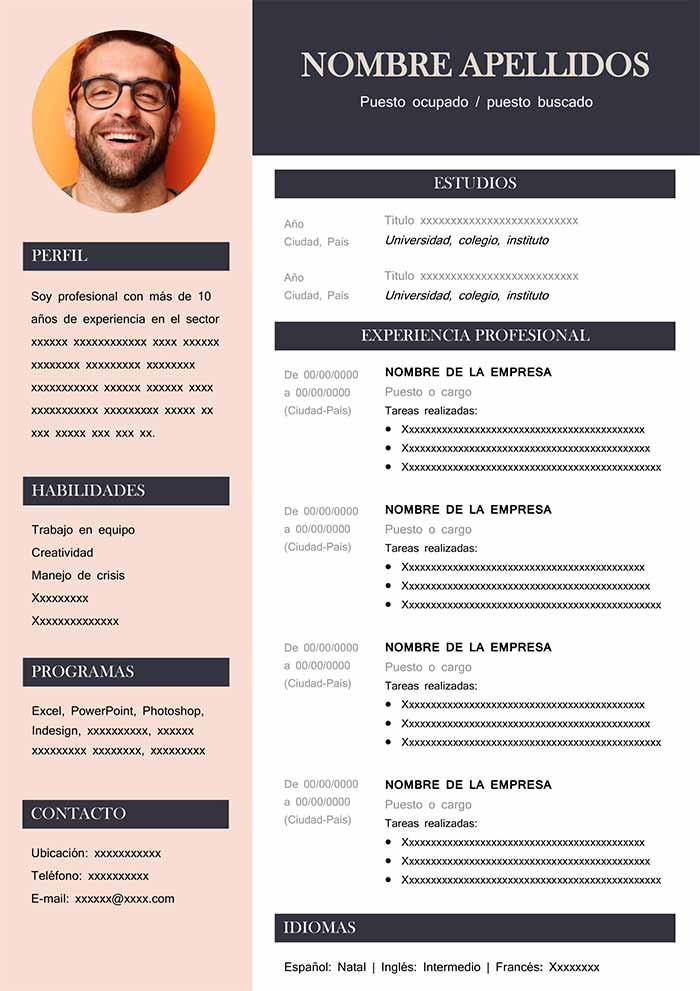 Modelo de Curriculo Vitae Word para Descargar Ejemplos CV