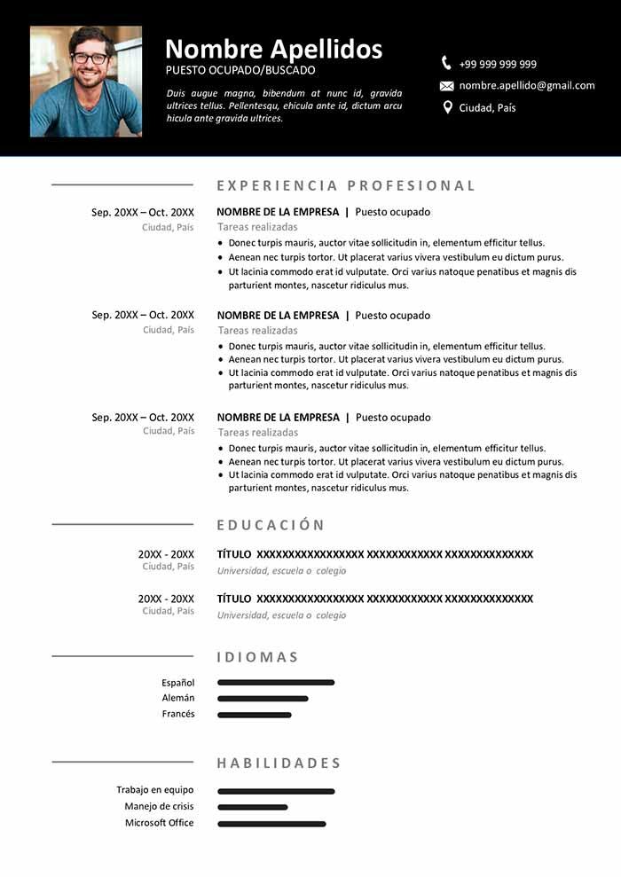 Plantilla de Curriculum Online Gratis para Word CV Online Doc