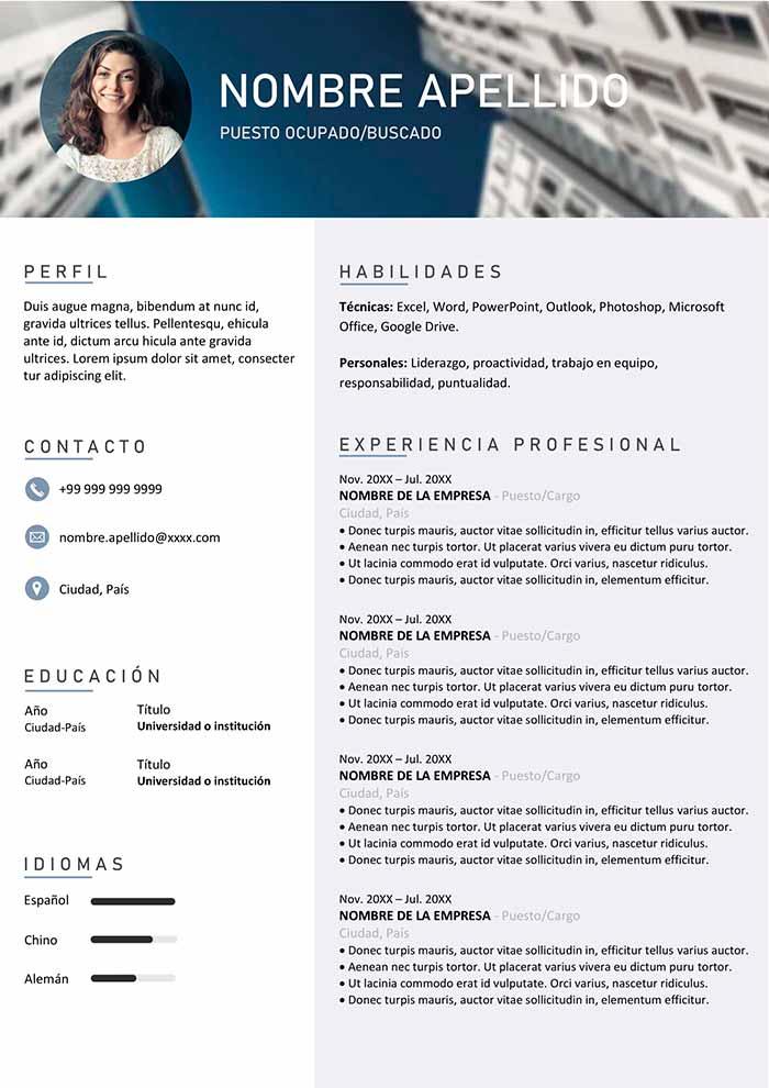 Curriculum Funcional para Descargar en Word CV Gratis