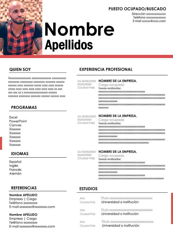 plantillas cv word frances