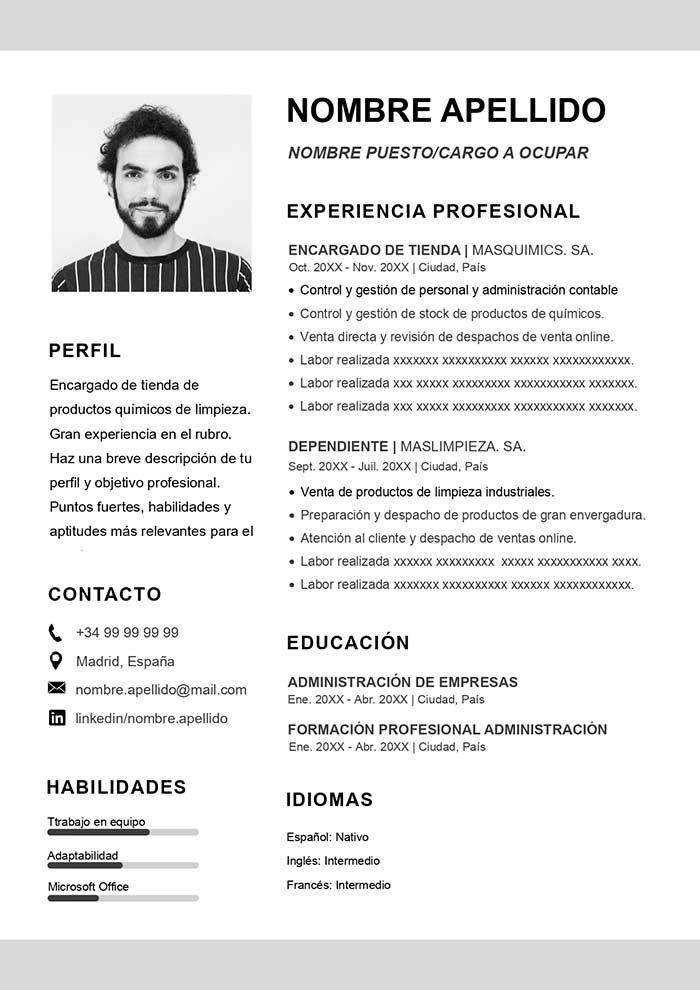 Modelo de Curriculo Vitae para Word Plantilla Gratis