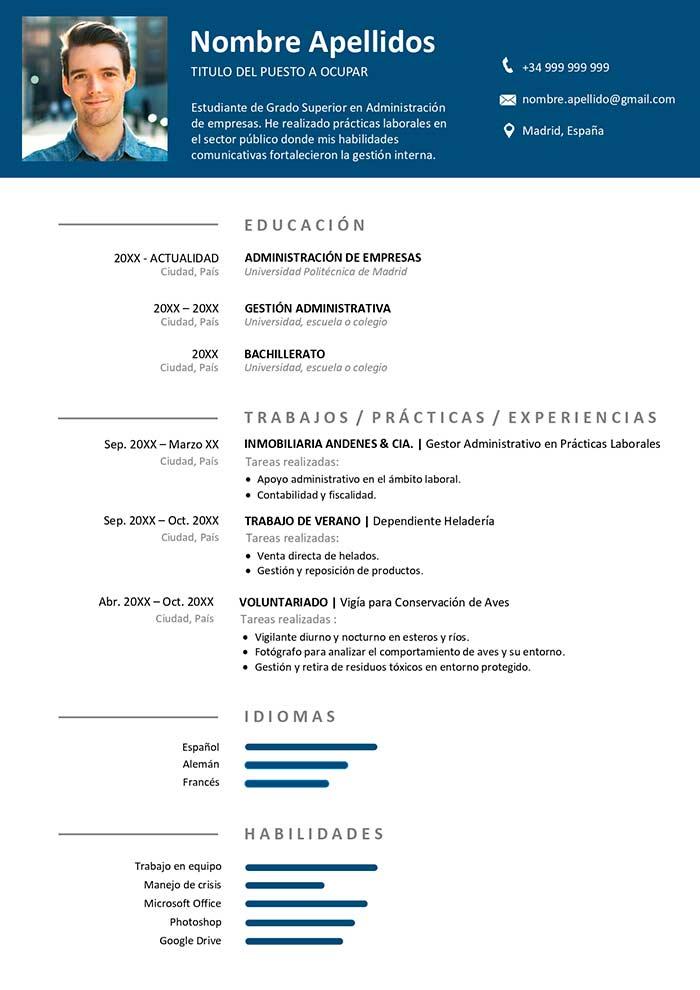 Modelo de Curriculum Sin Experiencia CV para Word