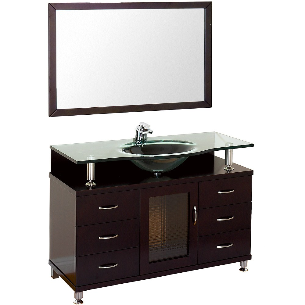 949 00 more details accara 48 bathroom vanity with drawers espresso w clear or frosted glass counter