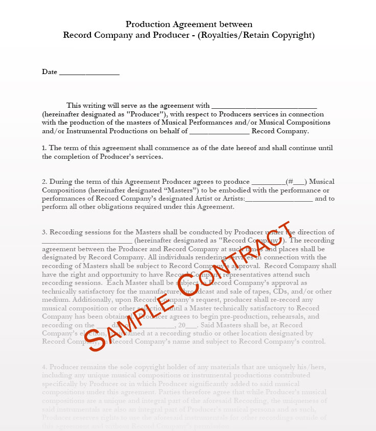 Music Producer Contract Templates - Music Production Contracts - sample artist contract template