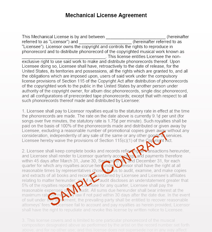 Music Contracts, Music Contract Templates - Music Manager - music contract templates