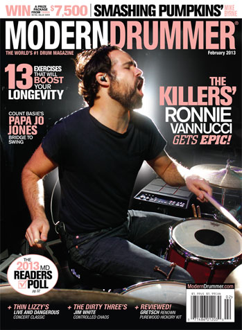 February 2013 Cover of Modern Drummer magazine featuring Ronnie Vannucci