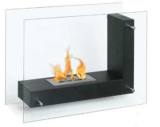 Fulton Black Contemporary Ventless Free Standing Ethanol