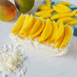 No-Churn Coconut Ice Cream with Fresh Mango by Modern Honey l www.modernhoney.com