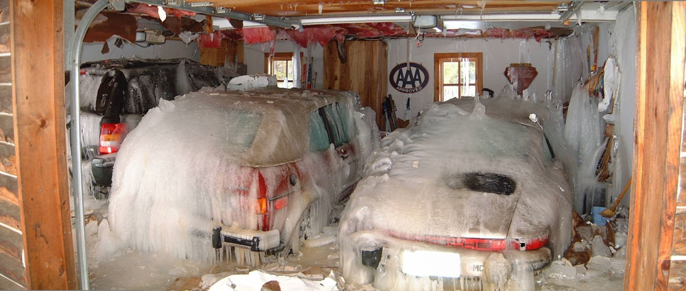 Pipe burst frozen water damaged garage