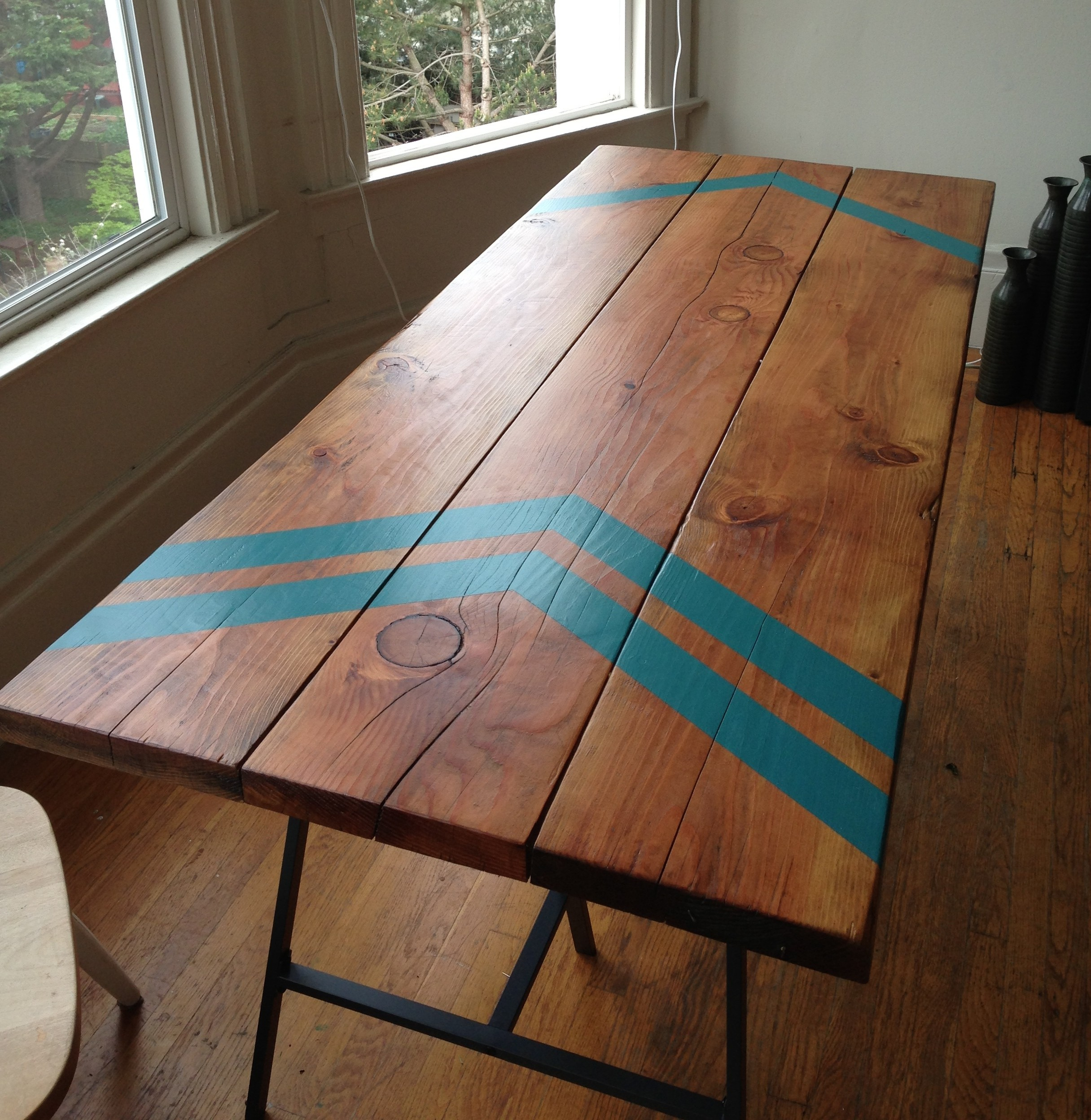 douglas fir table with square bar hairpin legs close up e1368286136506