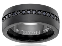 best wedding bands for men  Triton Black Tungsten