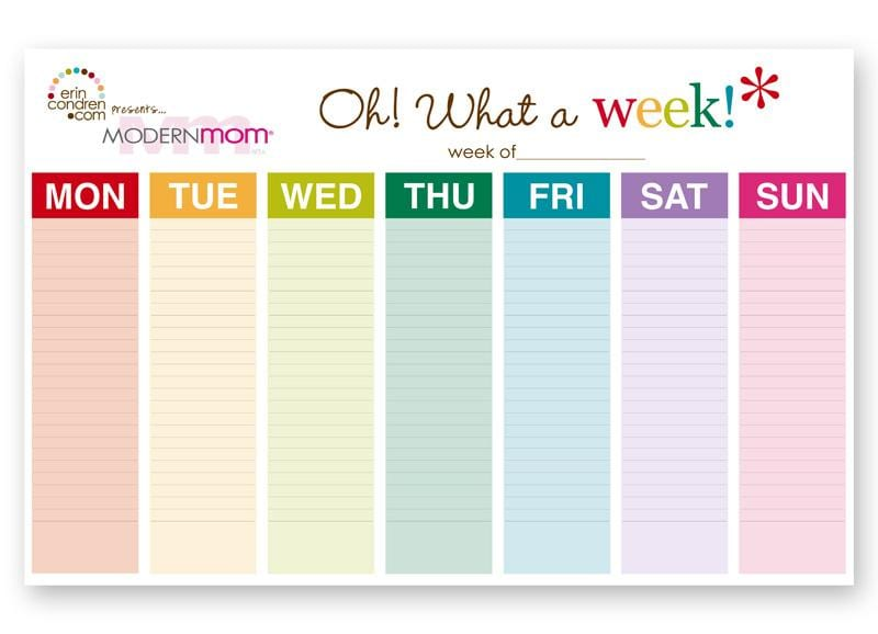 Modernmom Weekly Calendar - ModernMom - monday sunday calendar