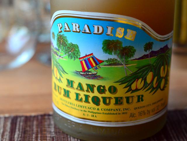 Paradise Mango Rum Liqueur label