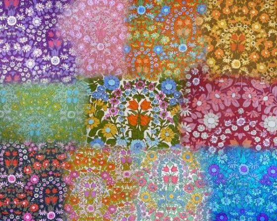 modflowers: a selection of colour variations of Pat Albeck's Daisy Chain fabric design