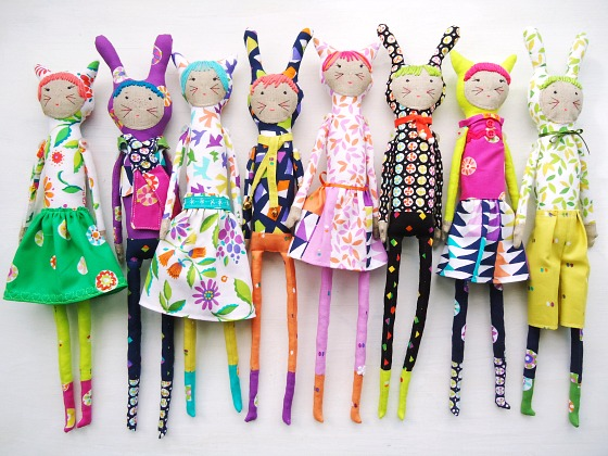 modflowers: new dolls using fabrics designed by Sarah Campbell for Michael Miller