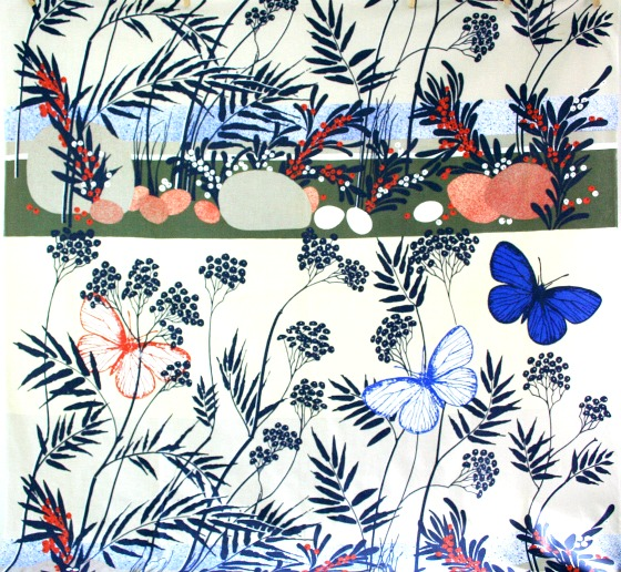 modflowers: vintage 1970s Almedahls butterfly & floral print cotton interiors fabric