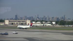 View of Manhattan from Admirals Club at LGA