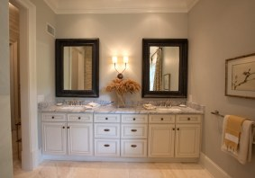 White bathroom with double sink