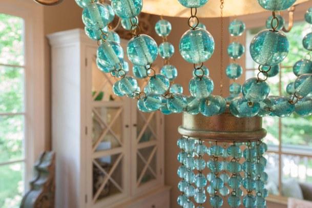 Beaded chandelier.
