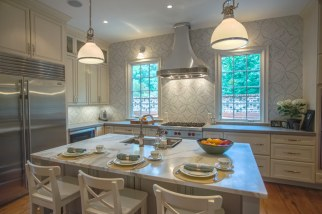 Kitchen design with seating island.