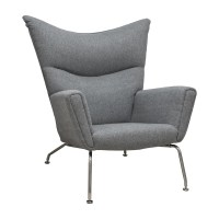 Classic Lounge Chair and Ottoman-Grey
