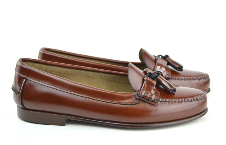 Ladies Chestnut Tassel Loafer With Leather Sole The