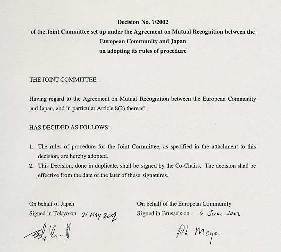 MOFA Decision No 1/2002 of the Joint Committee set up under the - mutual consensus