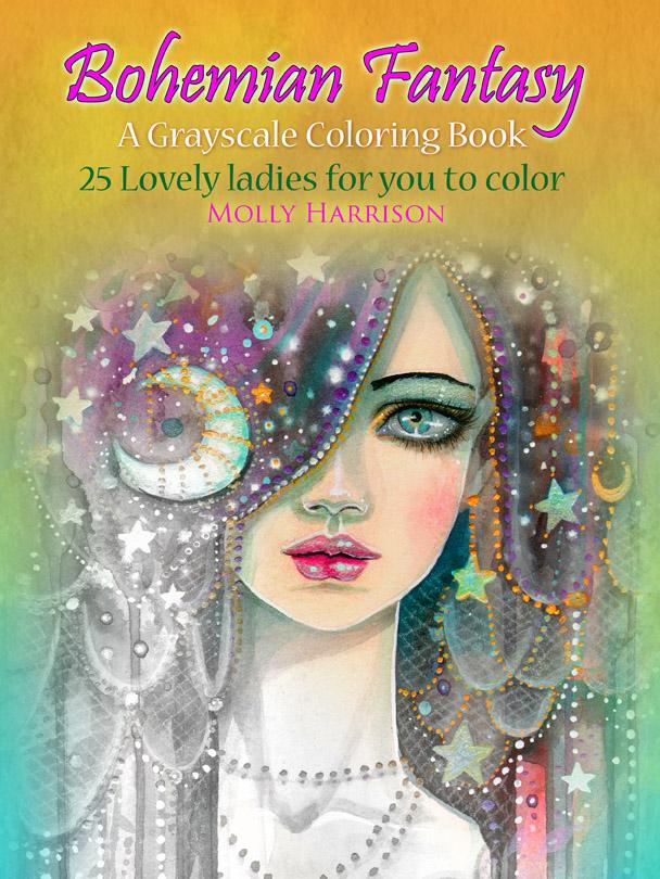 Autumn Magic Grayscale Digital Coloring Book by Molly Harriosn