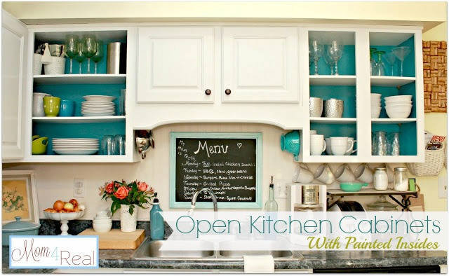Open Cabinets With White Aqua Lime Green Silver