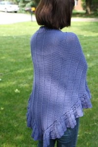 All Knitted Up: Violet Ruffled Shawl