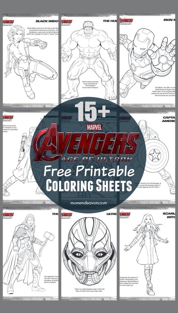 Avengers Age of Ultron FREE Printable Superhero Coloring Sheets
