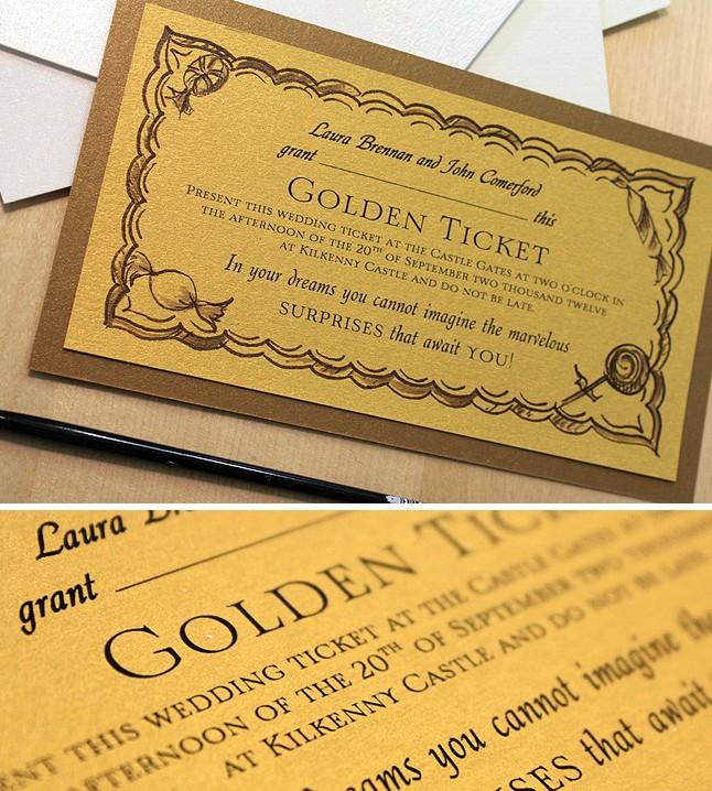 Wonka\u0027s Golden Ticket Inspired Wedding InvitationMomental Designs