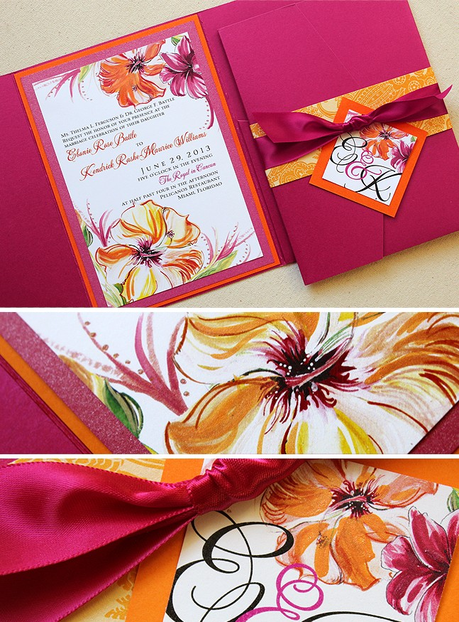 Fuschia And Tangerine Miami Hibiscus Wedding