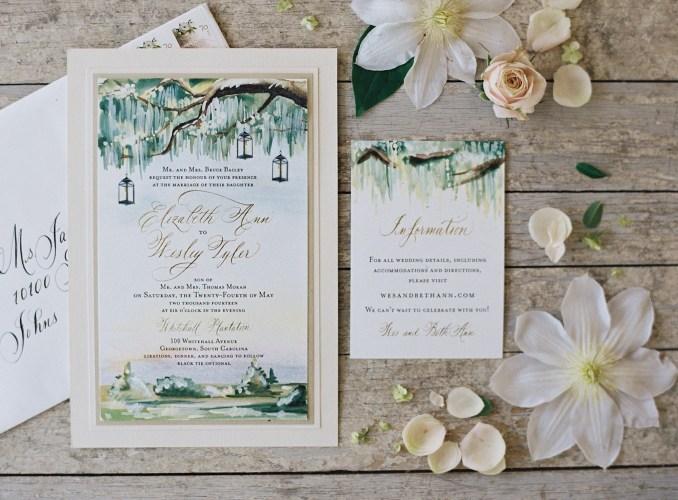 painted landscapes succulent wedding invitations Tec Petaja Southern Weddings Magazine