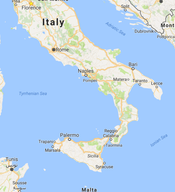 Italy, with Sicily in the very bottom.