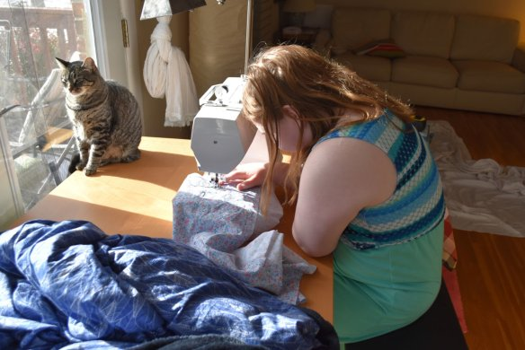 MoonStar used to just sit nearby while we sewed.