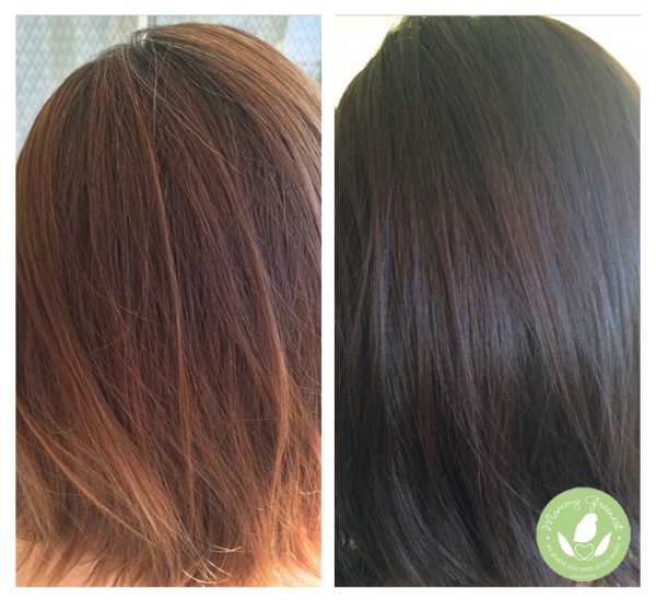 Mommy Greenest Natural Hair Color Henna Dye before and after
