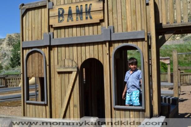 boy at medora playground north dakota