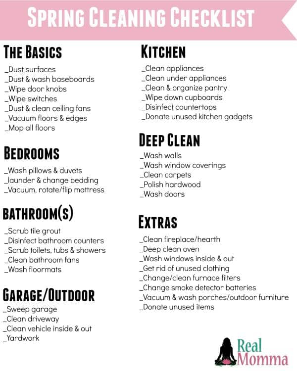 spring cleaning checklist - Mommy Moment - spring cleaning checklist