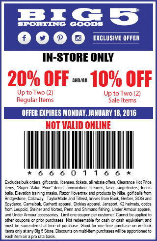 Big 5 Sporting Goods Coupons In Store (Printable Coupons) - 2018