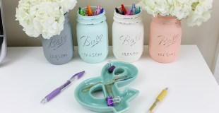 Chalk Paint Mason Jar Office Organization