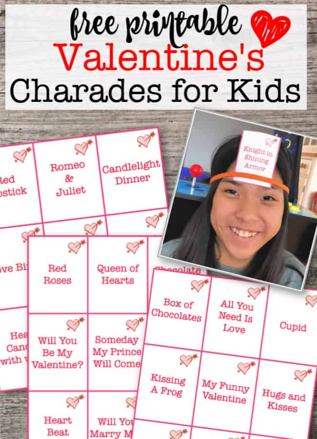 Valentines Day Games Free Printable Charades / Heads Up Game for