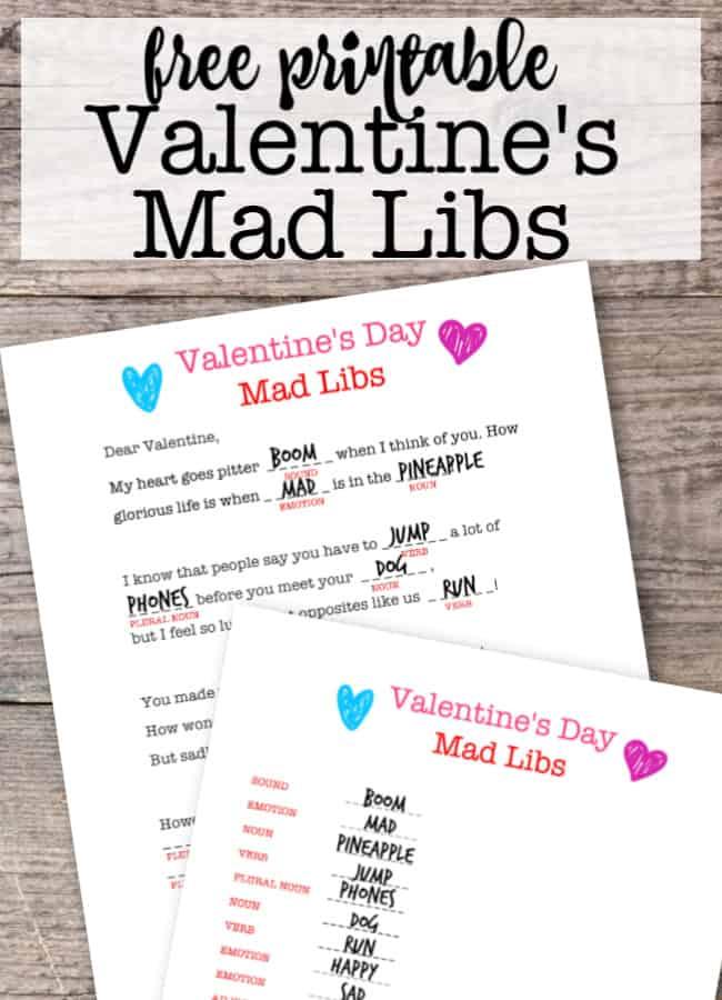 Valentines Mad Libs Game {Free Printable} - MomOf6