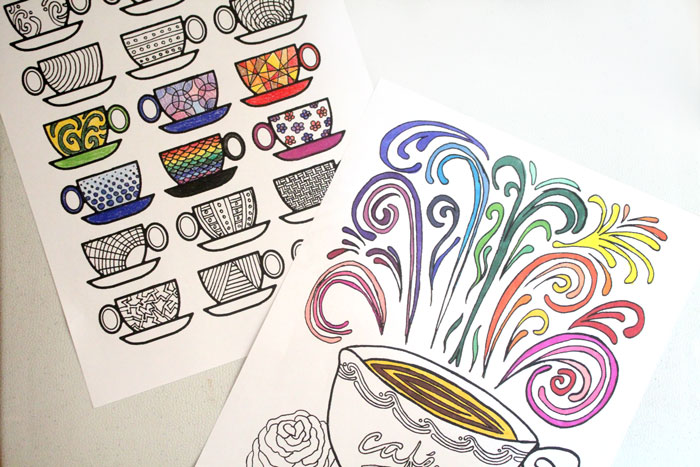 Free Printable Coloring Pages for Adults Coffee Cups! \u2013 Moms and
