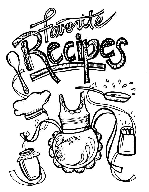 Color-in Recipe Binder - Coloring Book for Grown-ups
