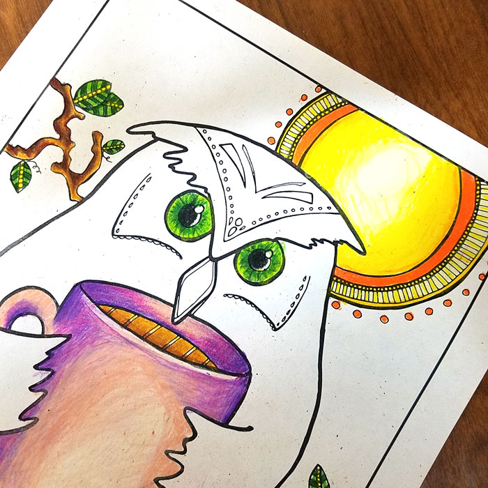 Free Printable Night Owl Coloring Page for Adults \u2013 Moms and Crafters