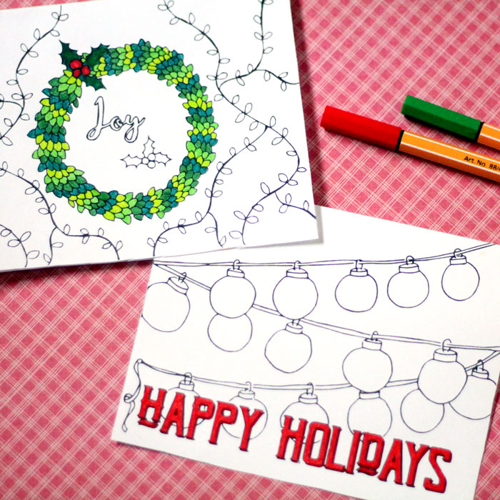 Free Printable Holiday Cards adult coloring pages - Hanukkah + Christmas