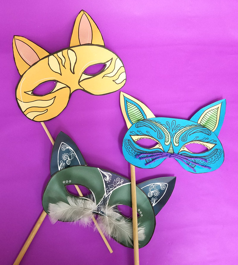 Cat Masks Printables and Paper Craft \u2013 Moms and Crafters