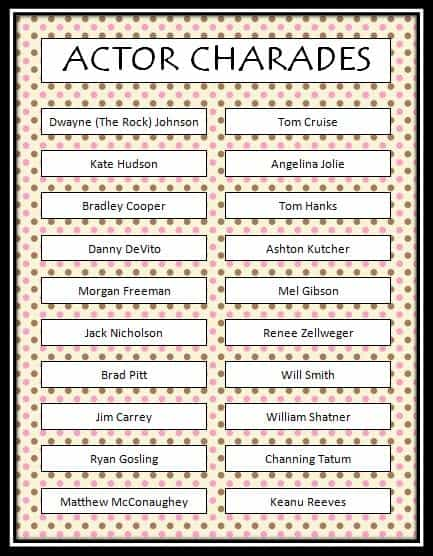 Actor Charades - Free Printable Game - Moms  Munchkins