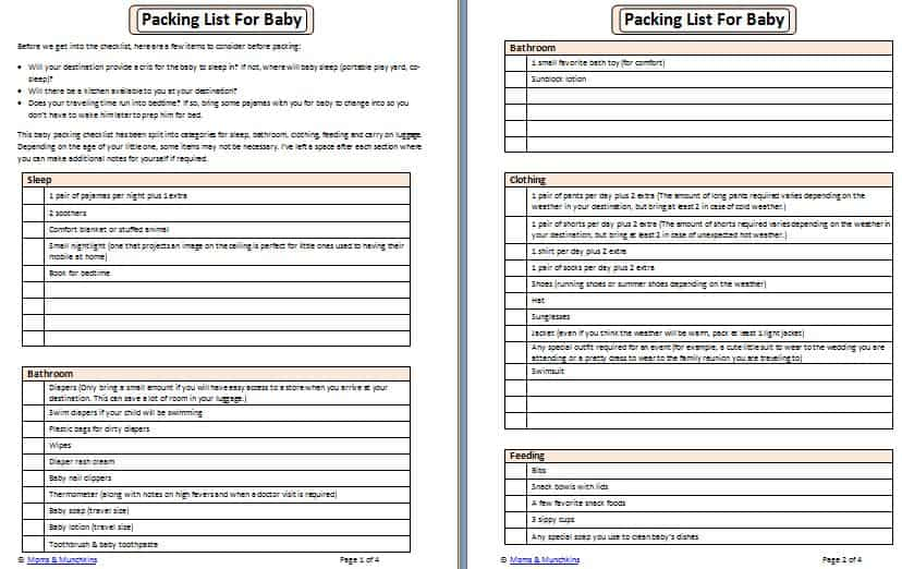 Packing List for Baby - Moms  Munchkins